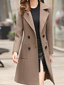 cheap Women's Coats & Trench Coats-Women's Daily Basic Fall & Winter Long Trench Coat, Solid Colored Turndown Long Sleeve Polyester Black / Light Brown / Khaki L / XL / XXL