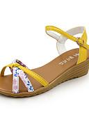 ieftine Tricou-Pentru femei Sandale Platformă PU Vară Sandale Toc Platformă Cataramă Bej / Galben
