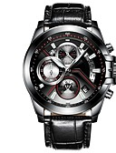 cheap Sport Watches-Men's Sport Watch Quartz Calendar / date / day Noctilucent Stainless Steel PU Band Analog Casual Black / Silver - Silver Black / Red Silver / Black