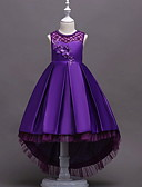 hesapli Çocuk Nedime Elbiseleri-Çocuklar Genç Kız Tatlı Geometrik Kolsuz Elbise YAKUT