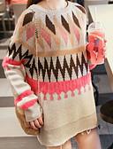 tanie Sukienki-Damskie Wyjściowe Moda miejska Kolorowy blok Długi rękaw Regularny Pulower, Okrągły dekolt Rumiany róż / Jasnoniebieski Jeden rozmiar