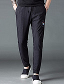 ieftine Pantaloni Bărbați si Pantaloni Scurți-Bărbați Zvelt Pantaloni Chinos Pantaloni - Dungi Negru