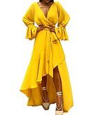 povoljno Print Dresses-Žene Izlasci Lantern rukav Slim Korice Swing kroj Haljina - Nabori, Jednobojni V izrez Asimetričan / Sexy