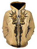 cheap Men's Hats-Men's Plus Size Sports Street chic / Punk & Gothic Long Sleeve Hoodie - Color Block Print Hooded / Spring / Fall