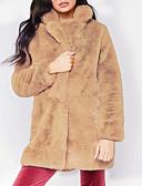 cheap Women's Fur & Faux Fur Coats-Women's Daily Basic / Punk & Gothic Winter Plus Size Regular Pea Coat, Solid Colored Hooded Long Sleeve PU Patchwork Pink / Camel / Gray XL / XXL / XXXL