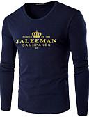 preiswerte Herren T-Shirts & Tank Tops-Herrn Buchstabe - Street Schick Übergrössen T-shirt, Rundhalsausschnitt Druck Weiß XXXL / Langarm / Frühling / Herbst
