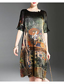 cheap Mother of the Bride Dresses-Women's Plus Size Going out Silk Chiffon Dress - Graphic Print