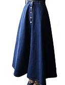 ieftine Print Dresses-Pentru femei Linie A De Bază Denim Maxi Fuste - Mată Talie Înaltă