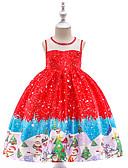 povoljno Haljine za djevojčice-Djeca Dijete koje je tek prohodalo Djevojčice Vintage Aktivan Božić Party Praznik Snowflake Bez rukávů Do koljena Haljina Red
