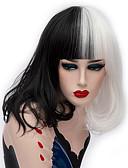 povoljno Vintage kraljica-Cosplay perika / Sintetičke perike Ravan kroj Kardashian Stil Srednji dio Capless Perika Crna Crna / Bijela Sintentička kosa 14 inch Žene Modni dizajn Crna / Bijela Perika Kratko