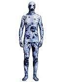 povoljno Zentai odijela-Zentai odijela Zentai odijela s uzorkom Cosplay Nošnje Zombi Odrasli Spandex Lycra Cosplay Nošnje Spol Muškarci Žene Plava Printing Halloween Karneval Maškare / Odijelo za kožu / Visoka elastičnost