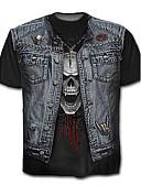 cheap Men's Tees & Tank Tops-Men's Skull / Exaggerated Plus Size Cotton T-shirt - Color Block / Skull Print / Short Sleeve