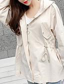 ieftine Pantaloni de Damă-Pentru femei Zilnic De Bază Regular Jachetă, Mată Capișon Manșon Lung Poliester Alb / Bej M / L