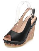 olcso Leggingek-Női Kényelmes cipők PU Nyár Szandálok Ék sarkú Bézs / Kék / Rózsaszín