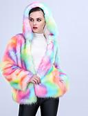 cheap Women's Fur & Faux Fur Coats-Women's Going out / Party / Cocktail Winter Regular Fur Coat, Multi Color Hooded Long Sleeve Faux Fur Rainbow XL / XXL / XXXL