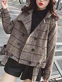 ieftine Sutiene-Pentru femei Ieșire Scurt Jachetă, Bloc Culoare Guler Întors Manșon Lung Poliester Kaki L / XL / XXL
