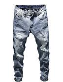 رخيصةأون بنطلونات و شورتات رجالي-رجالي قطن نحيل جينزات بنطلون - لون سادة فتحة / بقع أزرق