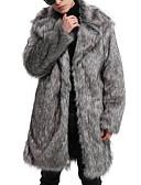 ieftine Pantaloni Bărbați si Pantaloni Scurți-Bărbați Ieșire De Bază / Șic Stradă Primăvară / Iarnă / Toamna iarna Mărime Plus Size Lung Palton Piele, Mată Răsfrânt Manșon Lung Blană Artificială Gri XL / XXL / XXXL