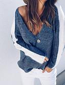 זול סוודרים לנשים-אחיד - סוודר רזה שרוול ארוך צווארון V בגדי ריקוד נשים / סתיו / חורף