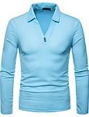 رخيصةأون الكورسيهات & المشدات-رجالي بولو ستايل قبعة القميص لون سادة / كم طويل