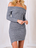 cheap Sweater Dresses-Women's Daily / Going out Mini Slim Sheath Dress - Solid Colored Boat Neck Fall Cotton Gray S M L / Sexy