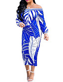 cheap Women's Dresses-Women's Street chic / Sophisticated Bodycon Dress Tropical Leaf, Print