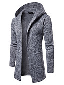cheap Men's Sweaters & Cardigans-Men's Daily / Going out Basic / Street chic Color Block Long Sleeve Slim Regular Cardigan, Hooded Spring / Fall Brown / Dark Gray / Light gray L / XL / XXL
