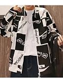baratos Jaquetas & Casacos para Homens-Homens Jaqueta Estampa Colorida Colarinho de Camisa / Manga Longa
