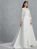 olcso Menyasszonyi ruhák-A-vonalú Bateau nyak Udvari uszály Csipke / Szatén Made-to-measure esküvői ruhák val vel által LAN TING BRIDE®