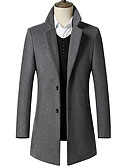 cheap Men's Jackets & Coats-Men's Daily Vintage / Basic Winter Long Coat, Solid Colored Fantastic Beasts Notch Lapel Long Sleeve Polyester Black / Navy Blue / Light gray XXL / XXXL / XXXXL