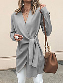 cheap Women's Trench Coats-Women's Daily Basic Fall & Winter Long Coat, Solid Colored / Contemporary V Neck Long Sleeve Polyester Wrap Gray / Army Green / Khaki L / XL / XXL