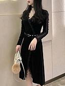baratos Vestidos Vintage-Mulheres Tamanhos Grandes Festa / Trabalho Vintage / Elegante Delgado Bainha Vestido - Renda / Patchwork, Sólido Decote V Altura dos Joelhos