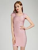preiswerte Abendkleider-Eng anliegend V-Ausschnitt Kurz / Mini 65% Viskose / 35% Polyester Kleid mit Muster / Druck durch LAN TING Express