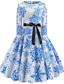 hesapli Mini Elbiseler-Kadın's Dışarı Çıkma Vintage Zarif Pamuklu İnce Çan Elbise - Kar Tanesi, Desen Diz-boyu