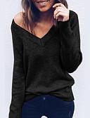 baratos Suéteres de Mulher-Mulheres Diário Moda de Rua Sólido Manga Longa Padrão Pulôver, Decote V Preto / Rosa / Cinza Claro M / L / XL