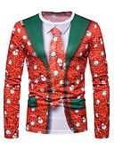 billige T-skjorter og singleter til herrer-Rund hals T-skjorte Herre - Geometrisk Jul / Langermet