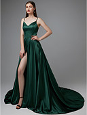cheap Evening Dresses-A-Line Spaghetti Strap Court Train Satin Beautiful Back Formal Evening Dress with Split Front / Pleats by TS Couture®