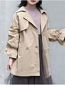 お買い得  女児ジャケット&コート-子供 女の子 ベーシック ソリッド 長袖 コットン トレンチコート ピンク