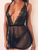hesapli Babydoll ve Slipler-Kadın's Hediye / Balayı / Sevgililer Günü Dantel İç Çamaşırı / şeffaf / Seksi Kız Büyük Bedenler Etekler - Solid Dantel / Arkasız / Şeffaf Siyah XL XXL XXXL / Boyundan Bağlamalı / Sexy