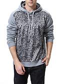 cheap Men's Hoodies & Sweatshirts-Men's Plus Size Basic / Street chic Long Sleeve Slim Hoodie - Leopard / Color Block, Print Hooded