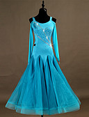 cheap Cocktail Dresses-Ballroom Dance Dresses Women's Training Nylon / Organza / Tulle Appliques / Crystals / Rhinestones Long Sleeve High Dress