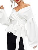 billige Bluser-V-hals Skjorte Dame - Ensfarget, Blondér Elegant Grønn
