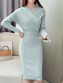 cheap Sweater Dresses-women's going out sweater / sheath dress midi v neck