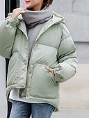 זול מעילי פוך ומעילי פרקה לנשים-M / L / XL שחור / אודם / ירוק בהיר עם קפוצ'ון פוליאסטר, מעיל פרקה רגיל רגיל שרוול ארוך אחיד יומי / ליציאה בגדי ריקוד נשים