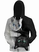 baratos Jaquetas & Casacos para Homens-Homens Tamanhos Grandes Solto Calças - 3D Gato, Estampado Cinzento / Com Capuz / Manga Longa / Outono / Inverno
