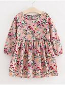 povoljno Haljine za djevojčice-Djeca Djevojčice Osnovni Dusty Rose Cvjetni print Dugih rukava Haljina Blushing Pink