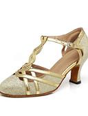 olcso Női kezeslábasok és overállok-Női Modern cipők Szintetikus Magassarkúk Csat / Egyoldalú üres Kubai sarok Dance Shoes Arany / Fekete / Ezüstszürke / Teljesítmény / Gyakorlat / EU38