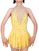 cheap Ice Skating Dresses , Pants & Jackets-Figure Skating Dress Women's / Girls' Ice Skating Dress Yellow Open Back Spandex, Stretch Yarn High Elasticity Professional / Competition Skating Wear Handmade Fashion Sleeveless Ice Skating / Winter