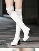 tanie Sukienki w rozmiarach plus-Damskie Fashion Boots Zamsz / Świńska skóra Jesień Botki Szpilka Buty zamknięte Kozaki za kolano Biały / Czarny