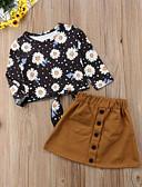 preiswerte Kleider für Mädchen-Kinder Mädchen Aktiv / Punk & Gothic Alltag / Festtage Blumen Schleife / Druck Langarm Standard Standard Baumwolle / Polyester Kleidungs Set Braun